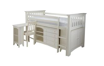 Right Hand Facing Ladder Mid Sleeper with Mattress Jesse