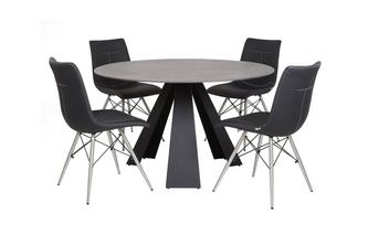 Round Fixed Dining Table & Set of 4 Chairs