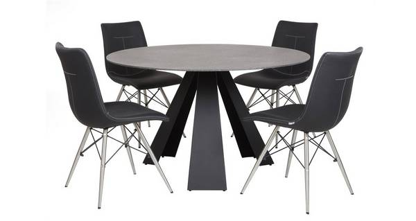 Jett Round Fixed Dining Table & Set of 4 Chairs
