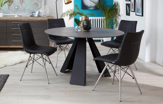 Jett Round Fixed Dining Table & Set of 4 Chairs Jett