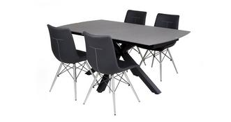 Jett Rectangular Extending Dining Table & Set of 4 Chairs