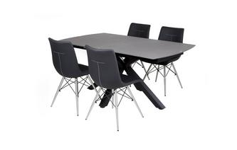 Rectangular Extending Dining Table & Set of 4 Chairs Jett