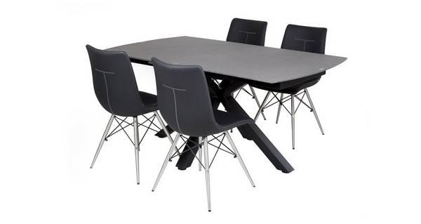 Jett Rechthoekig uitstrekt eettafel en reeks van 4 stoelen