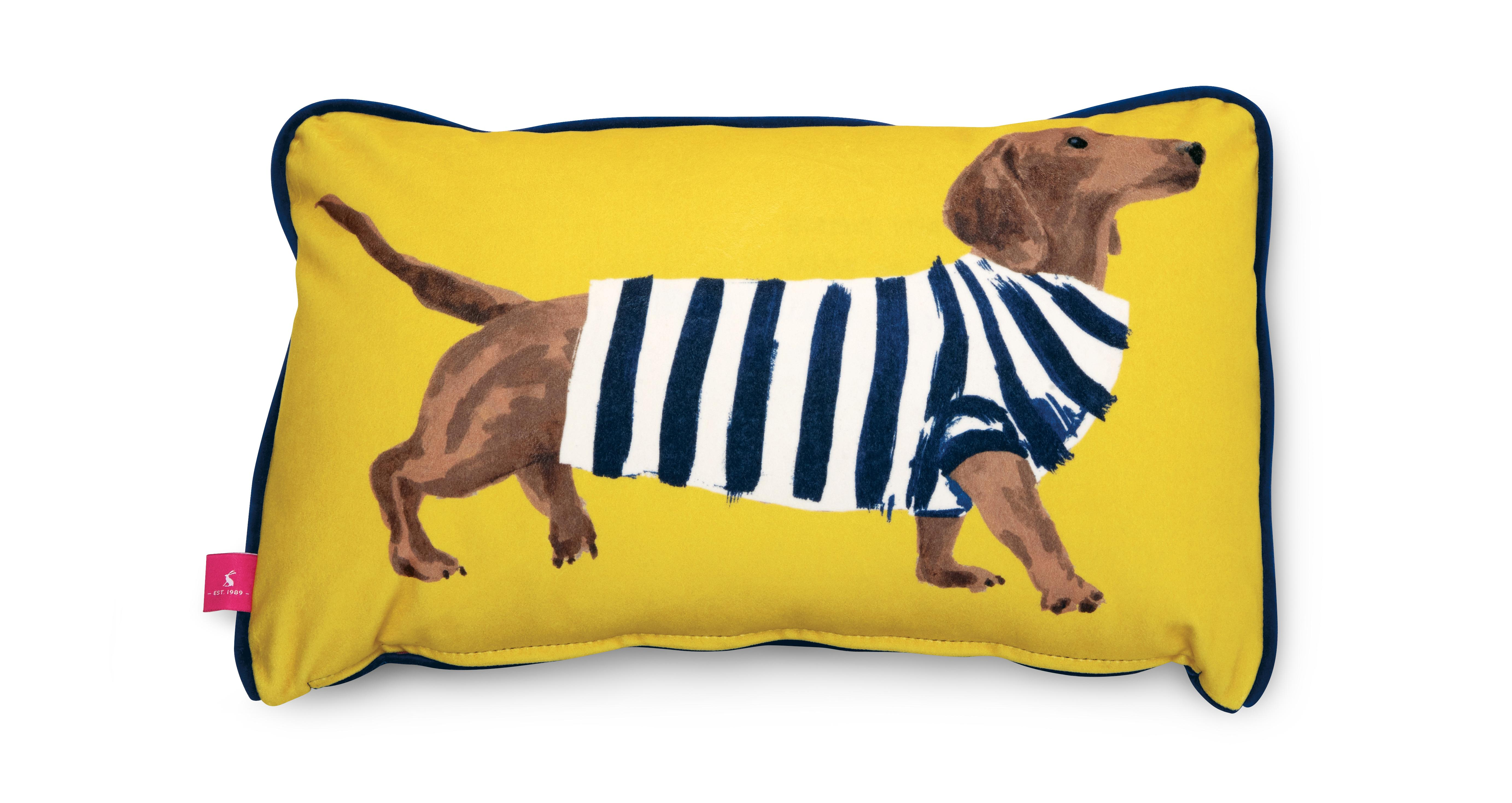 Joules Scatters Sausage Dog Bolster Cushion Sammy Sausage
