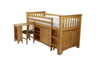 Right Hand Facing Ladder Mid Sleeper with Mattress Jude