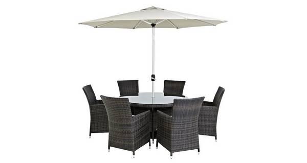 Juno 6 Seater Dining Set & Parasol
