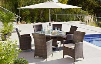 juno 6 seater dining set parasol pu rattan - Garden Furniture Ireland