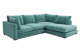Velvet Left Hand Facing Arm Small Open End Corner Sofa