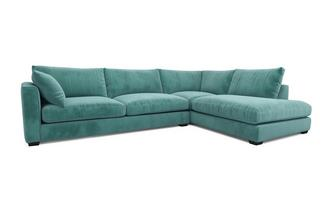 Velvet Left Hand Facing Arm Large Open End Corner Sofa