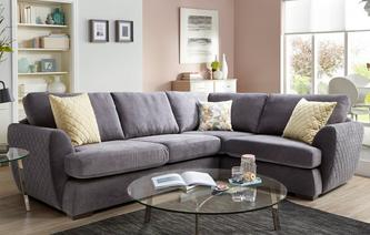 Karisma Left Hand Facing 2 Seater Deluxe Corner Sofa Bed Sherbet