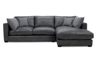 Leather Right Hand Facing Small Chaise End Sofa