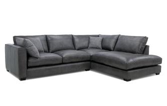 Leather Left Hand Facing Arm Small Open End Corner Sofa
