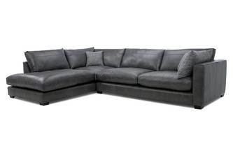 Leather Right Hand Facing Arm Large Open End Corner Sofa