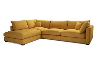 Velvet Right Hand Facing Arm Large Open End Corner Sofa