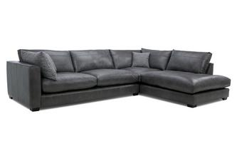 Leather Left Hand Facing Arm Large Open End Corner Sofa