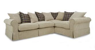 Kendal Left Hand Facing Pattern and Plaid Pillow Back 3 Seater Corner Group