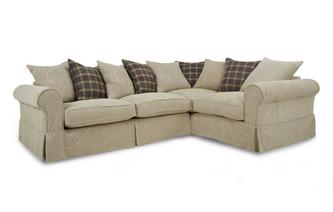 Left Hand Facing Pattern and Plaid Pillow Back 3 Seater Corner Group