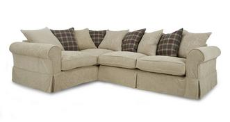 Kendal Right Hand Facing Pattern and Plaid Pillow Back 3 Seater Corner Group