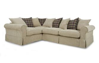Right Hand Facing Pattern and Plaid Pillow Back 3 Seater Corner Group