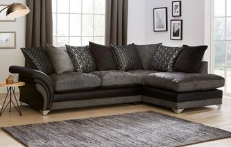 Kendra Pillow Back Left Hand Facing 3 Seater Open End Corner Sofa Oberon
