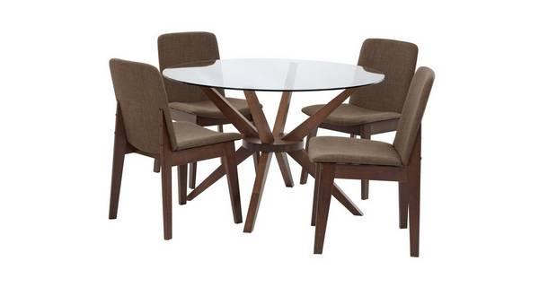 Kitsch Ronde glas eettafel en reeks van 4 stoelen