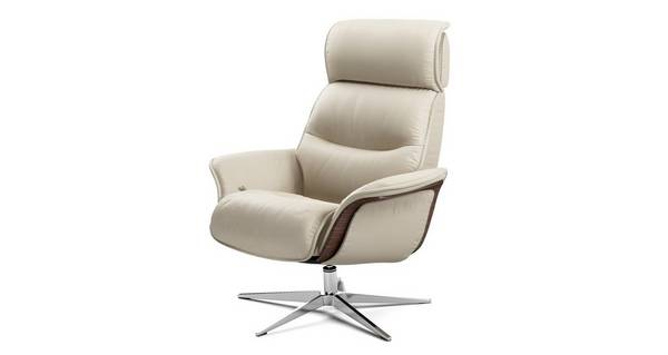 Lagom Leather Manual Swivel Recliner Chair And Footstool Ergo Leather L Dfs