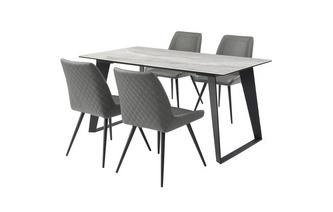 Medium Fixed Top Dining Table & 4 Dining Chairs