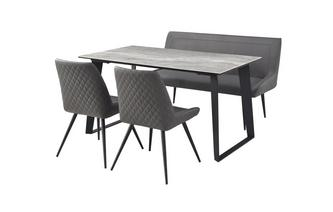145cm Fixed Dining Table with 1 Highback Bench & 2 Cantilever Chairs