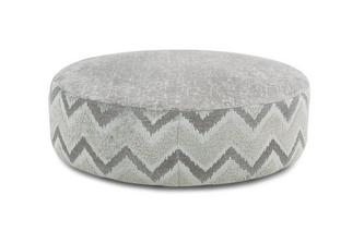 Large Round Pattern and Plain Footstool