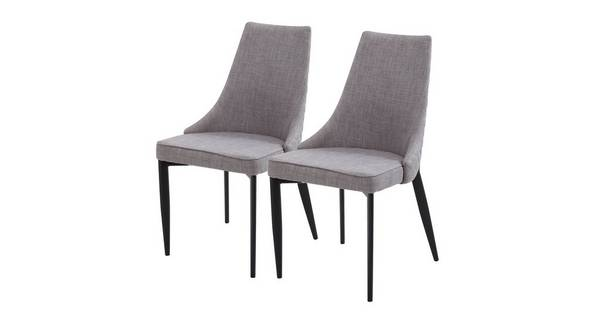 Leyton Set of 2 Quilted Fabric Dining Chairs