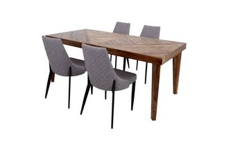Fixed Top Table & Set of 4 Quilted Fabric Chairs Leyton