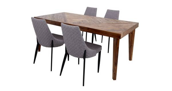 Leyton Fixed Top Table & Set of 4 Quilted Fabric Chairs