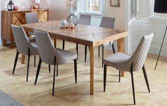 Leyton Fixed Top Table & Set of 4 Quilted Fabric Chairs Leyton