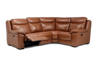 Option E Leather and Leather Look Left Hand Facing Manual Recliner Corner Sofa