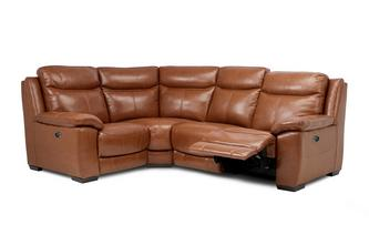 Option I Leather and Leather Look Right Hand Facing Power Recliner Corner Sofa