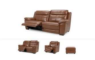Liaison Clearance 3 Seater Electric, 2 Seater Electric, Electric Recliner Chair & Storage Footstool Brazil with Leather Look Fabric