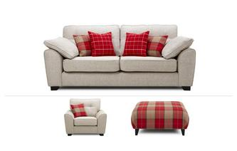 Lomax Clearance 3 Seater Sofa, Chair & Footstool Keeper