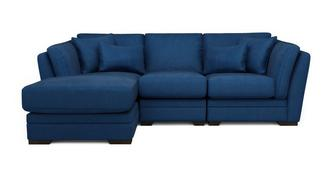 Long Beach Velvet Left Hand Facing Small Chaise Sofa