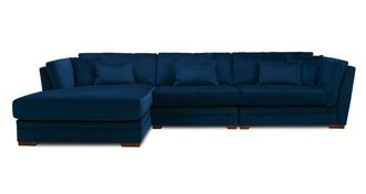 Long Beach Velvet Left Hand Facing Large Chaise Sofa