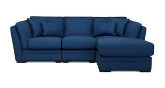 Long Beach Velvet Right Hand Facing Small Chaise Sofa