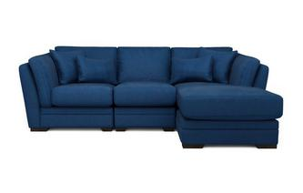 Velvet Right Hand Facing Small Chaise Sofa