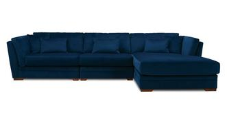 Long Beach Velvet Right Hand Facing Large Chaise Sofa