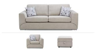 Lotus Clearance 3 Seater, Chair & Footstool