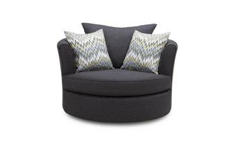 Ludo Large Swivel Chair with Pattern Scatters Revive