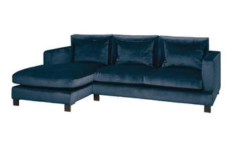 Velvet Left Hand Facing 4 Seater Chaise End Sofa