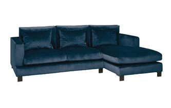 Velvet Right Hand Facing 4 Seater Chaise End Sofa