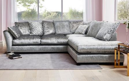 42c323e78b5 Lustrous Pillow Back Left Hand Facing Arm 3 Seat Corner Sofa