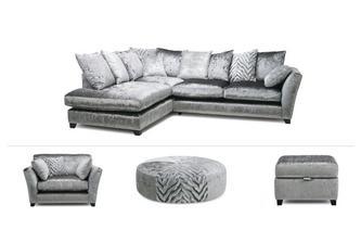 Corner Sofa, Cuddler & 2 Stools