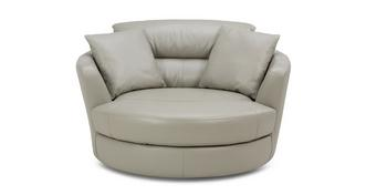 Lynx Leather and Leather Look Large Swivel Chair