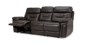 Lyon Leather and Leather Look 3 Seater Manual Recliner